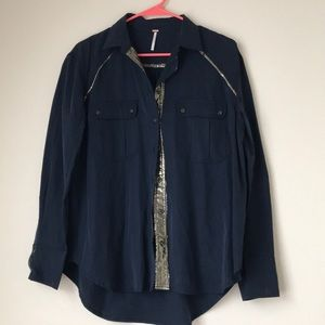 Free People Navy Blue Button Down Small Gold